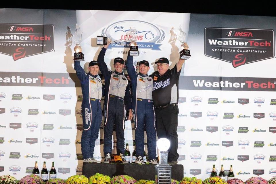 -ViperExchange.com and team drivers Ben Keating, Jeroen Bleekemolen and Marc Miller gave the Dodge Viper a victory in its last IMSA race on Saturday at Petit Le Mans in the No. 33 ViperExchange.com/ Gas Monkey Garage Dodge Viper GT3-R. Joined by Bill Riley, Owner of Riley Motorsports