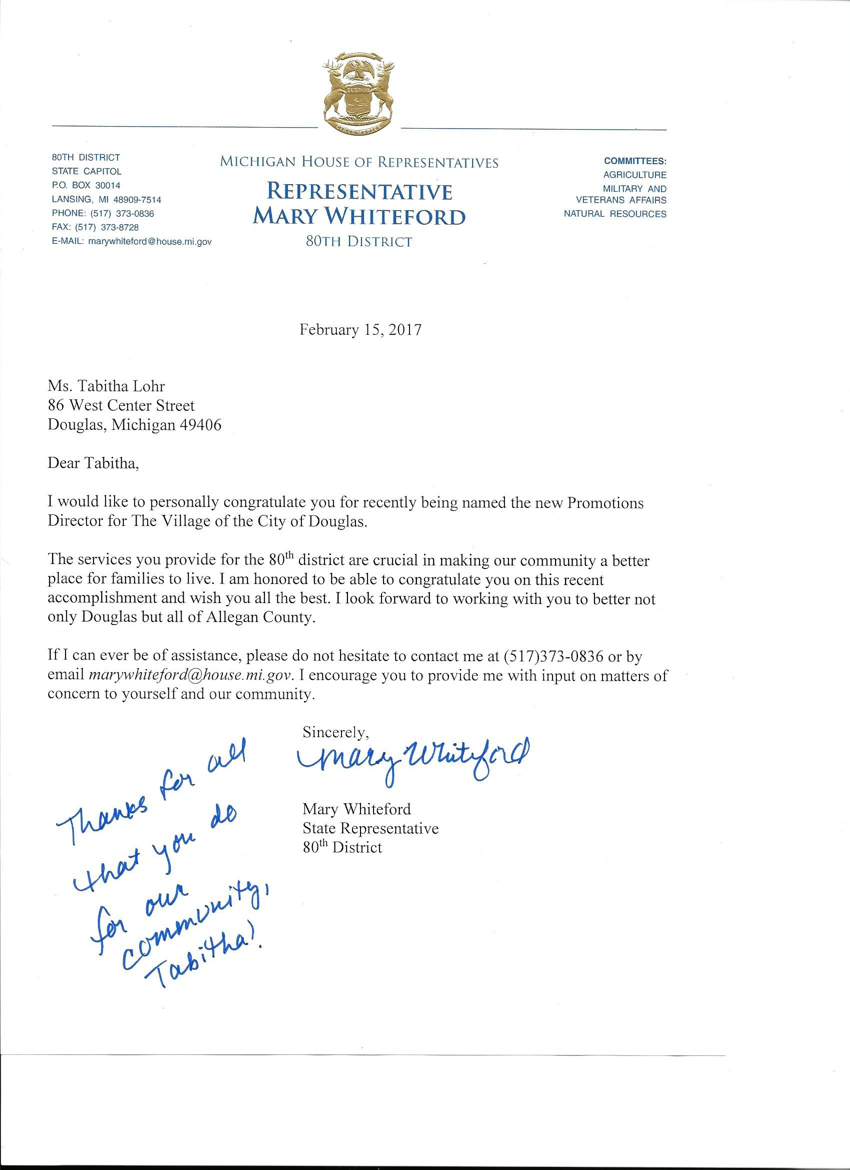 Lohr Receives Personal Letter From Michigan State House